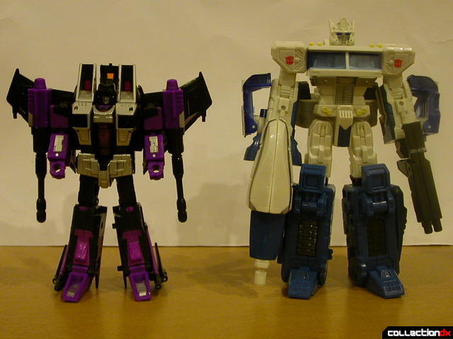 The Battle for Autobot City- Skywarp (left) and Ultra Magnus (right) stand-off