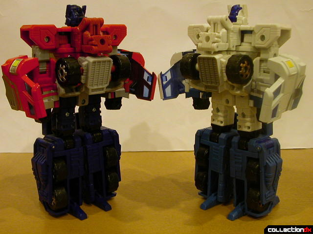 Autobots Optimus Prime (left) and Ultra Magnus (right) both in robot mode (back)