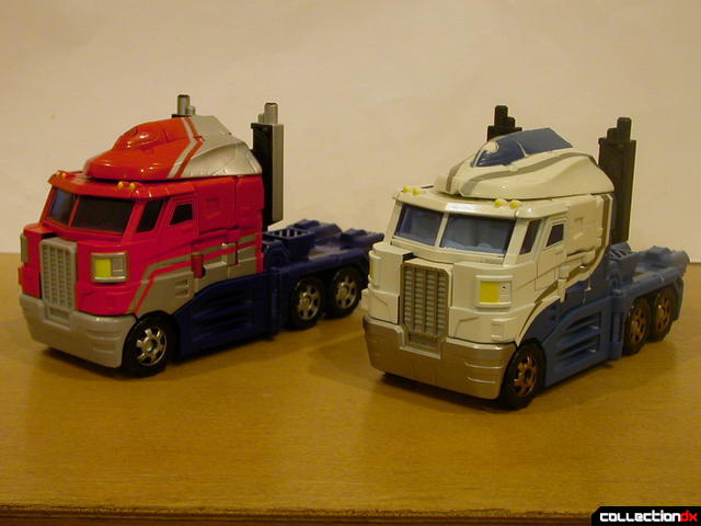 Autobots Optimus Prime (left) and Ultra Magnus (right) both in vehicle mode
