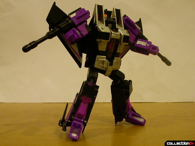 Decepticon Skywarp- robot mode posed (with missile launchers on shoulders)