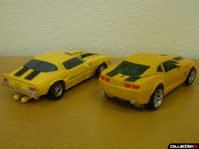 back view- Classic Camaro (left) and Battle Scenes Bumblebee (right) in vehicle mode