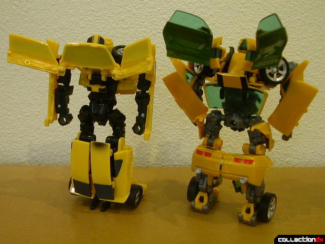 back view- Classic Camaro (left) and Battle Scenes Bumblebee (right)