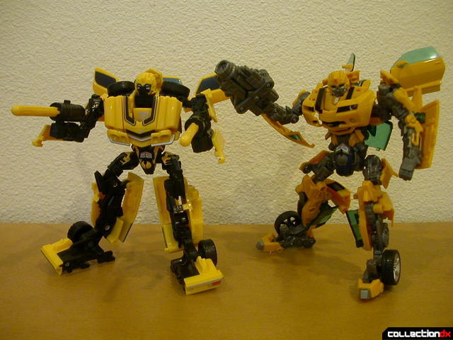 Classic Camaro (left) and Battle Scenes Bumblebee (right) posed with weapons