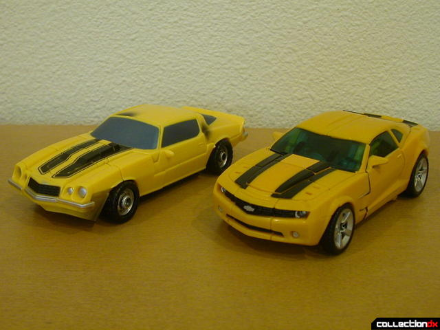 front view- Classic Camaro (left) and Battle Scenes Bumblebee (right) in vehicle mode