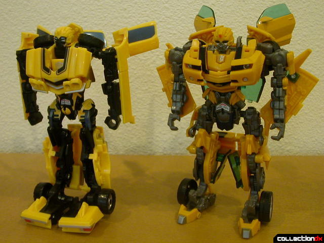 front view- Classic Camaro (left) and Battle Scenes Bumblebee (right)