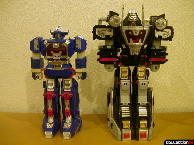 Deluxe Astro Megazord (left) and alternate Astro-Delta Megazord (right)