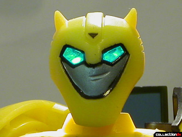 Autobot Bumblebee- robot mode (head detail, eyes lit from behind)