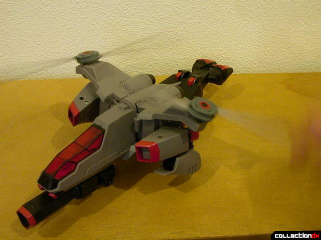 Decepticon Megatron- vehicle mode (rotors spin together at the same time)