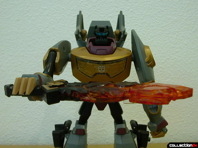 Dinobot Grimlock- robot mode (holding sword horizontally to activate flame feature)