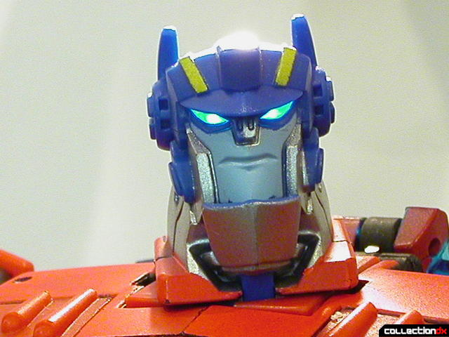 Autobot Optimus Prime- robot mode (head detail, eyes lit from behind)