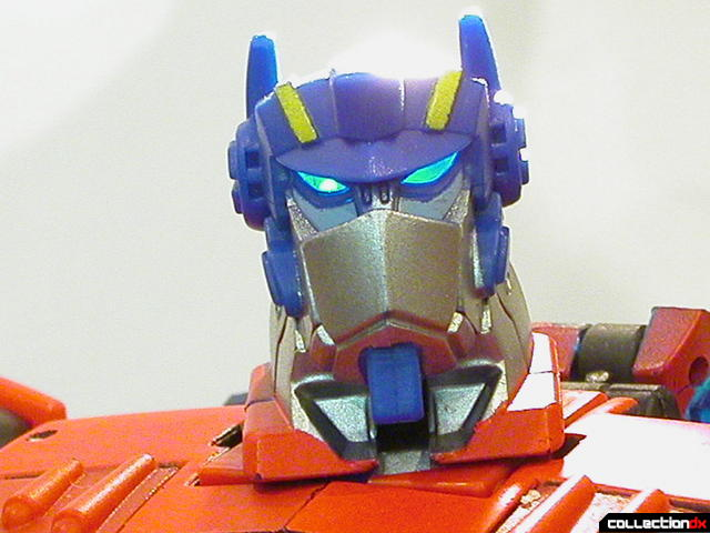 Autobot Optimus Prime- robot mode (head detail, faceplate raised, eyes lit from behind)