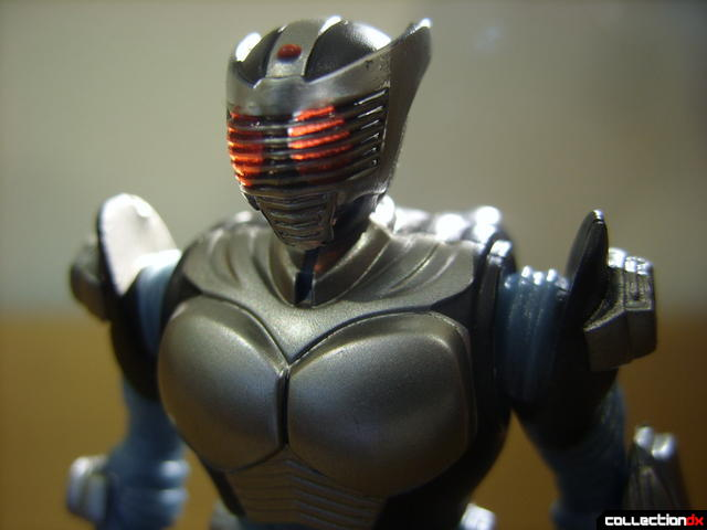 Kamen Rider Blank Knight with Advent Cycle- figure detail (head, lit from behind)