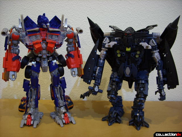 RotF Leader-class Autobot Jetfire (R, not hunched) and Optimus Prime (L) in robot mode