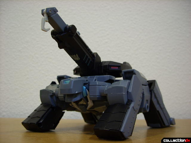 Animated Voyager-class Decepticon Shockwave- crane mode (dramatic angle)