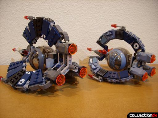 Droid Tri-Fighters- new version (L) and original version (R) (back)
