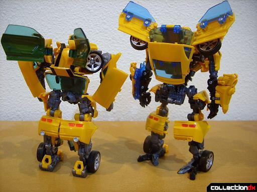 robot mode- Deluxe class 2007 Concept Camaro (L) and Battle Blade Bumblebee (R)(back)