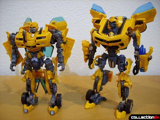 robot mode- Deluxe class 2007 Concept Camaro (L) and Battle Blade Bumblebee (R)(front)