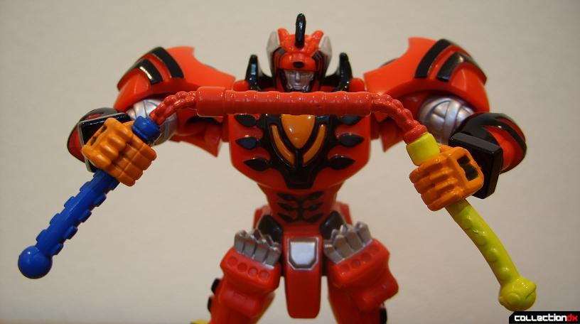 Retrofire Jungle Pride Megazord (holding Jungle Sansetsukon in two hands)