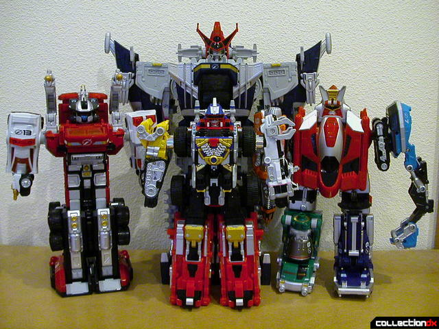 DaiBouken (front), DaiTanken (right), Siren Builder (left), & DaiVoyager (back)