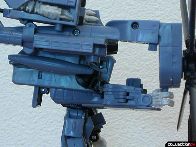 Decepticon Blackout- robot mode (rotor weapon attached, close-up)