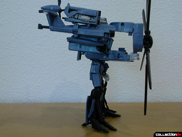 Decepticon Blackout- robot mode (rotor weapon attached, right side view)