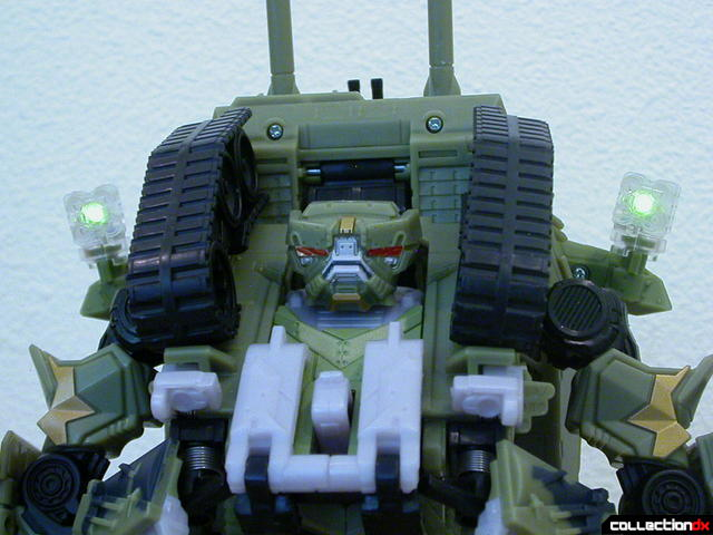Decepticon Brawl- robot mode (missile launchers lit by green LEDs)