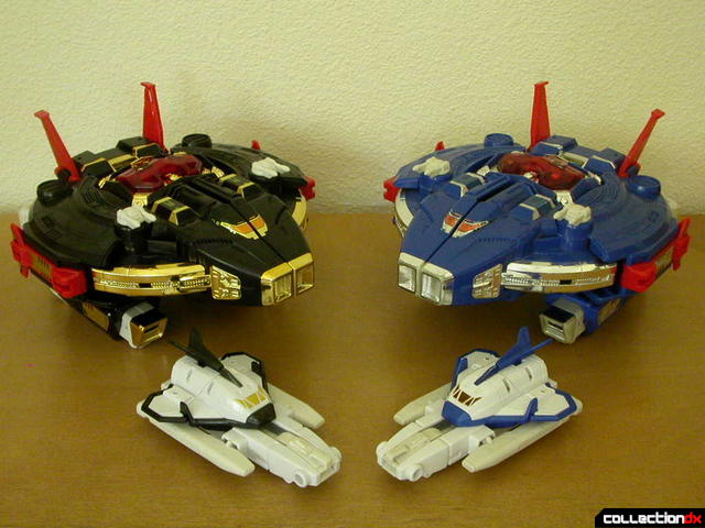 Astro Galactic Megazord (left) and Astro Megazord (right)- both in Megaship Mode