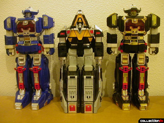 Deluxe Astro Megazord (left), Delta Megazord (center) and Astro Galactic Megazord (right)