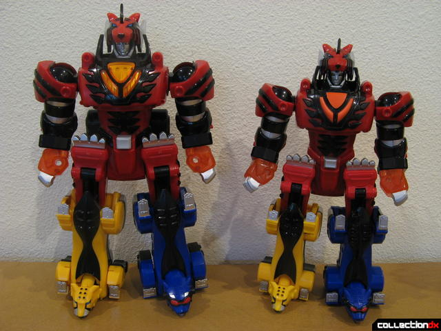 front view- Deluxe Jungle Pride Megazord (L) and Transforming Jungle Pride Megazord (R)