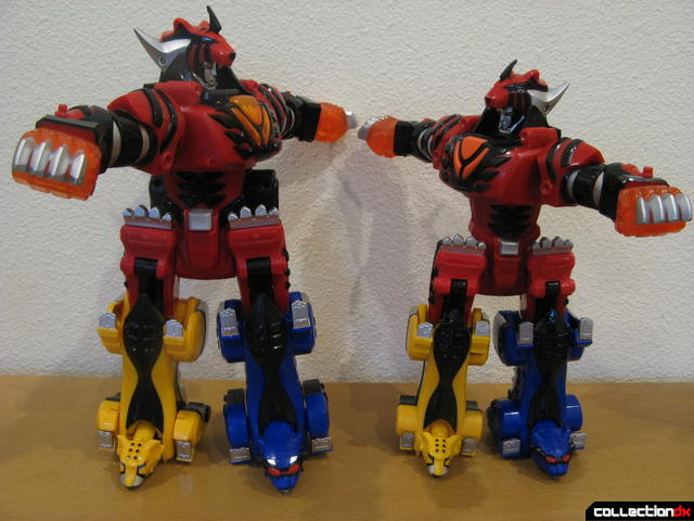 torso twisting- Deluxe Jungle Pride Megazord (L) and Transforming Jungle Pride Megazord (R)