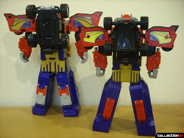 back view- DX Engine Gattai Engine-Oh (L) and High Octane Megazord (R)