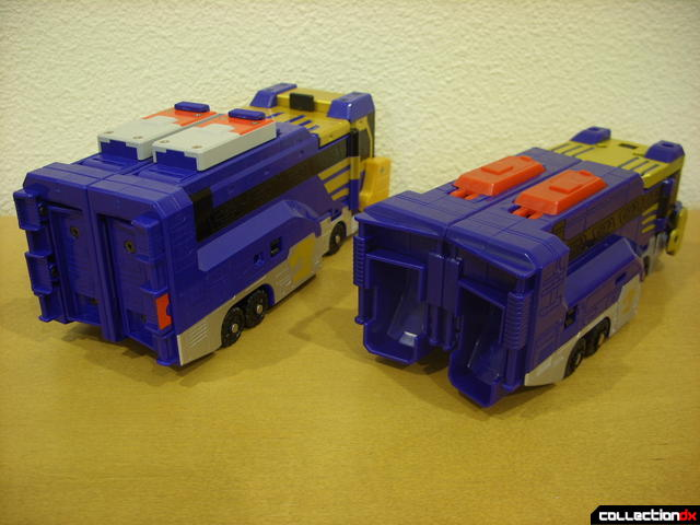 back view- Engine Buson (L) and Lion Hauler Zord Attack Vehicle (R)
