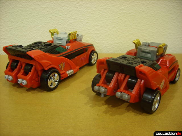 back view- Engine Speedor (L) and Eagle Racer Zord Attack Vehicle (R)
