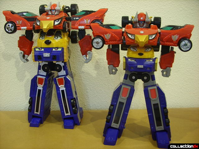 front view- DX Engine Gattai Engine-Oh (L) and High Octane Megazord (R)