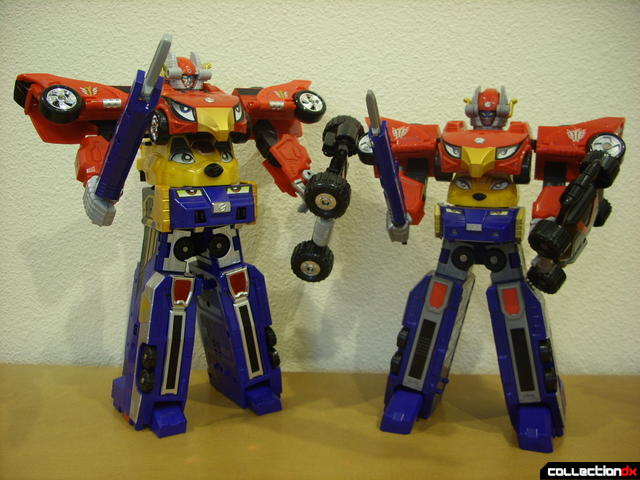 posed with weapons- DX Engine Gattai Engine-Oh (L) and High Octane Megazord (R)