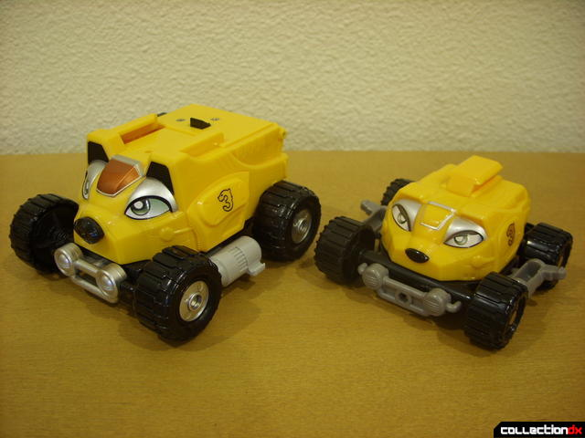 front view- Engine Bear RV (L) and Bear Crawler Zord Attack Vehicle (R)