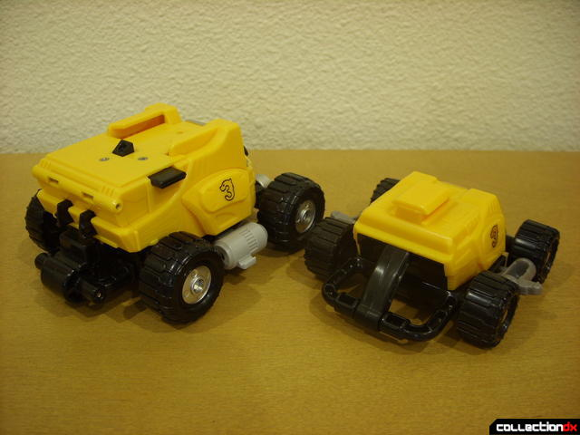 back view- Engine Bear RV (L) and Bear Crawler Zord Attack Vehicle (R)