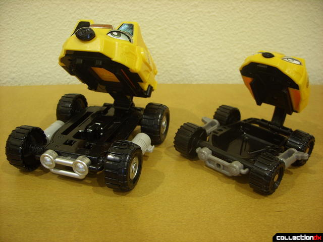 mouths opened- Engine Bear RV (L) and Bear Crawler Zord Attack Vehicle (R)