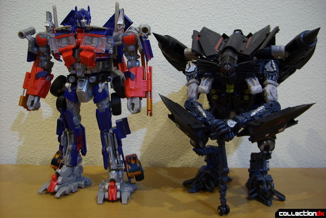 RotF Leader-class Autobot Jetfire (R) and Optimus Prime (L) in robot mode