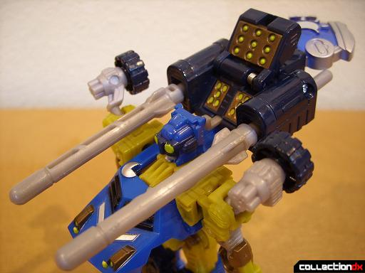 Scout-class Autobot Scattorshot- robot mode (Planet Key panel opened, missile turret raised)