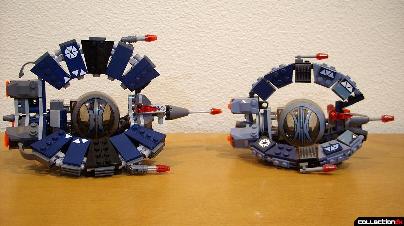 Droid Tri-Fighters- new version (L) and original version (R) (right profile)
